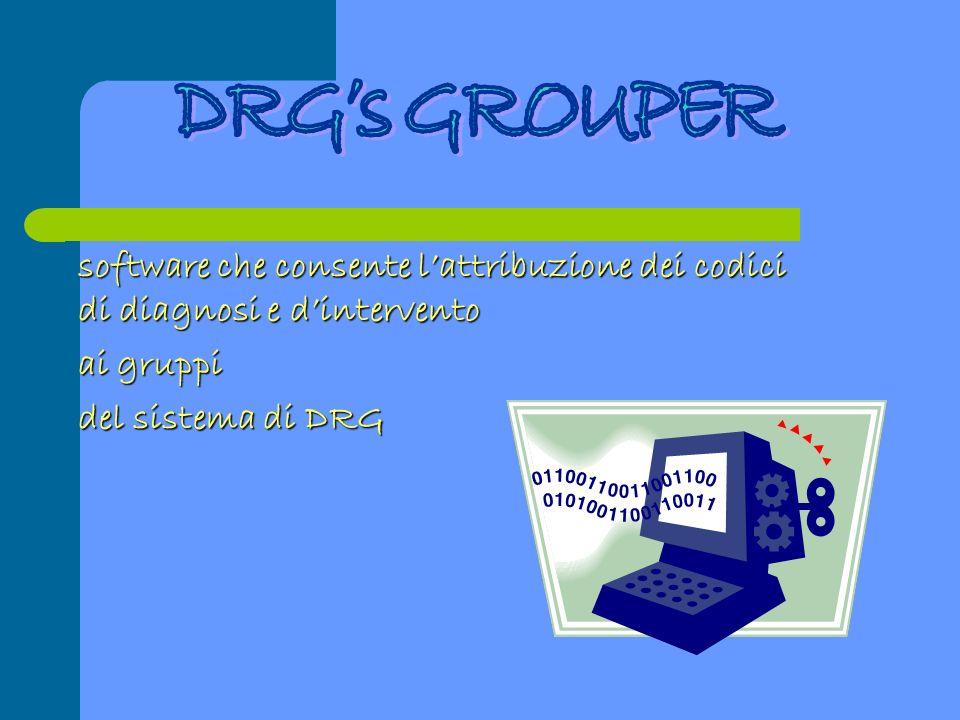 DRG's GROUPER software che consente l'attribuzione dei codici di diagnosi e d'intervento. ai gruppi.