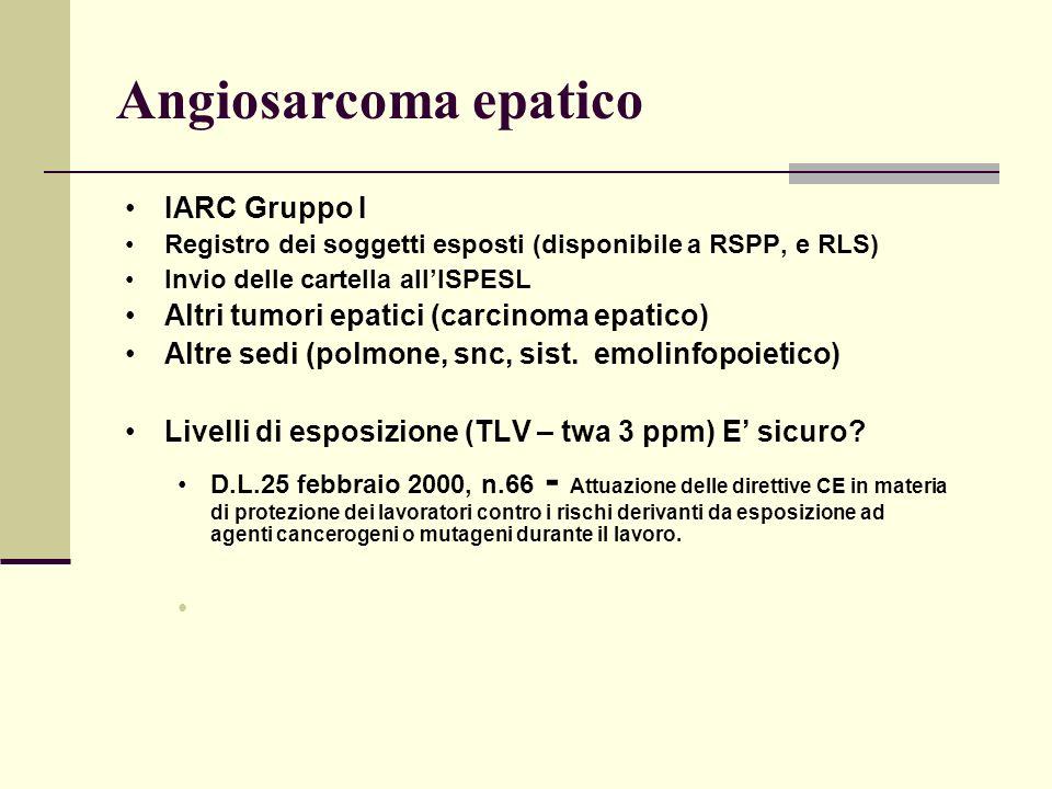 Angiosarcoma epatico IARC Gruppo I
