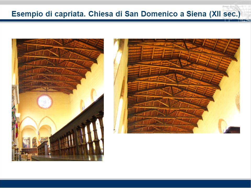 Esempio di capriata. Chiesa di San Domenico a Siena (XII sec.)