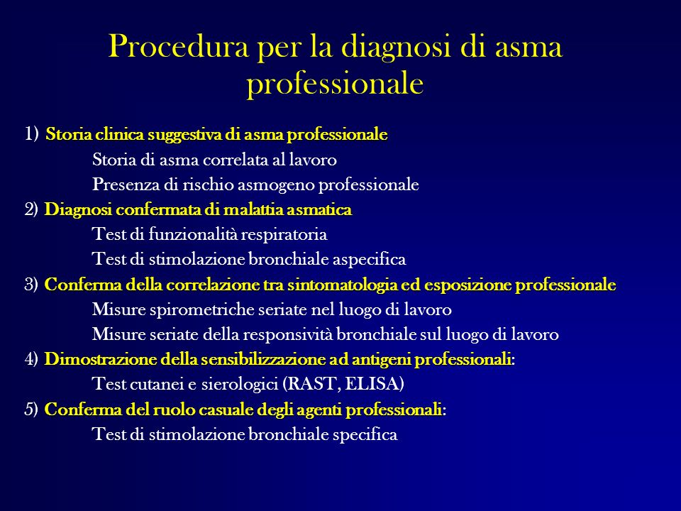 Procedura per la diagnosi di asma professionale