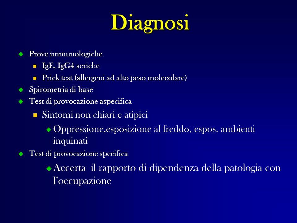Diagnosi Prove immunologiche. IgE, IgG4 seriche. Prick test (allergeni ad alto peso molecolare) Spirometria di base.