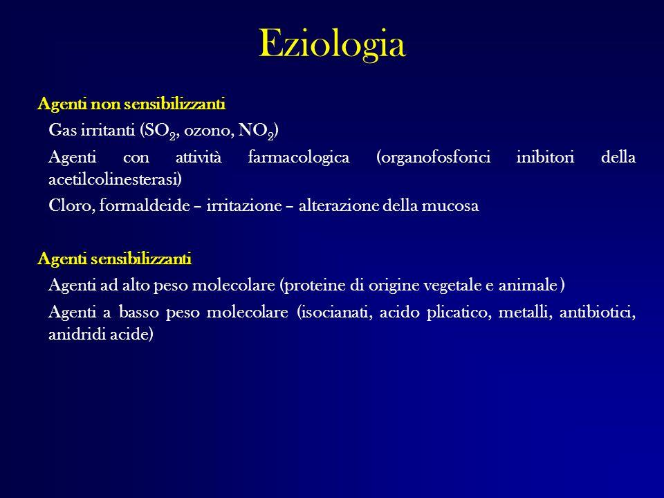 Eziologia Agenti non sensibilizzanti Gas irritanti (SO2, ozono, NO2)