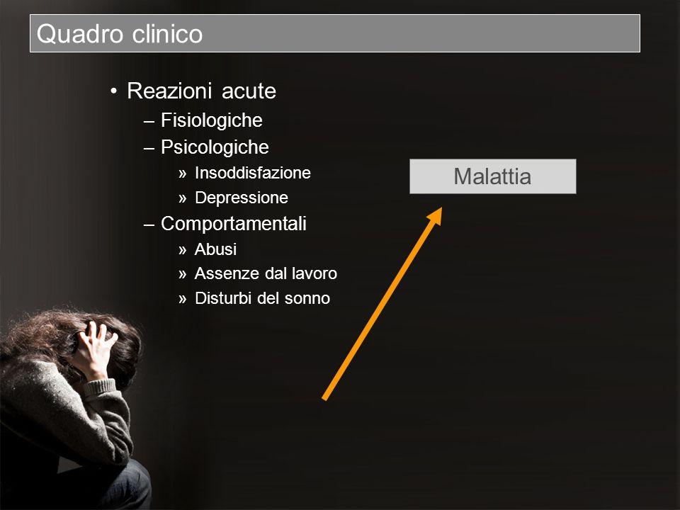 Quadro clinico Reazioni acute Malattia Fisiologiche Psicologiche