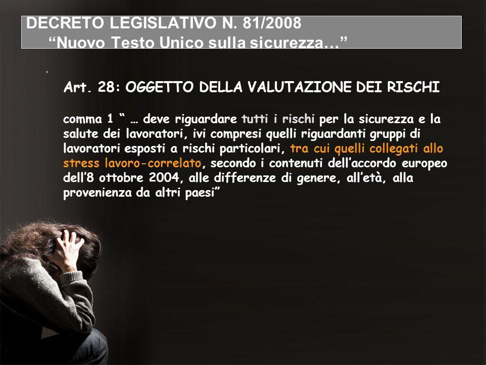 DECRETO LEGISLATIVO N. 81/2008 Nuovo Testo Unico sulla sicurezza…