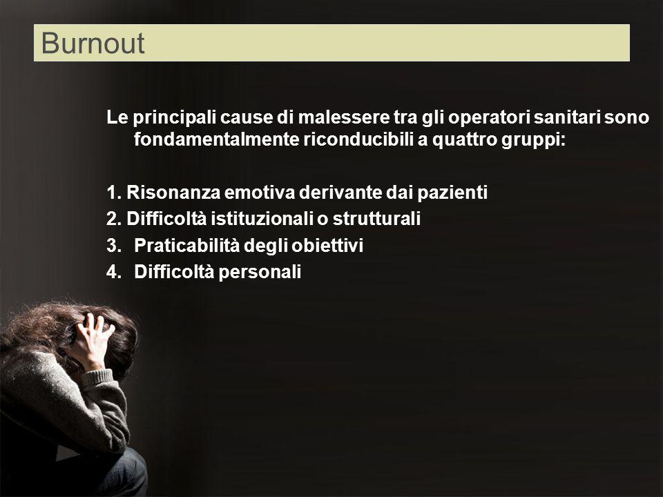 Burnout Le principali cause di malessere tra gli operatori sanitari sono fondamentalmente riconducibili a quattro gruppi: