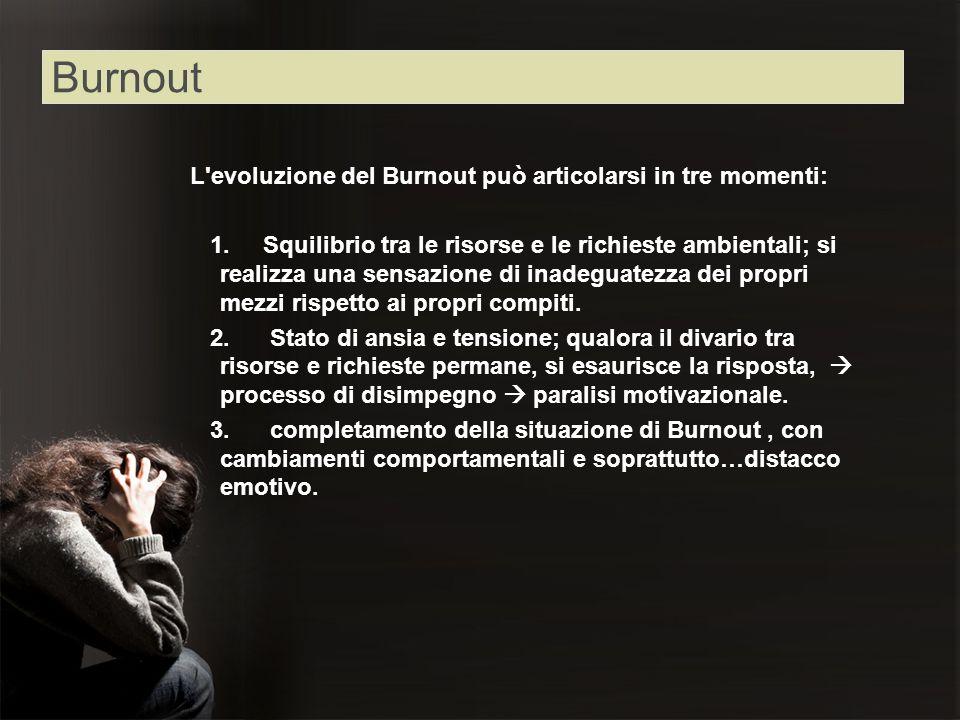 Burnout L evoluzione del Burnout può articolarsi in tre momenti: