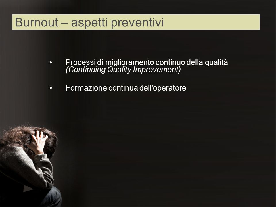 Burnout – aspetti preventivi