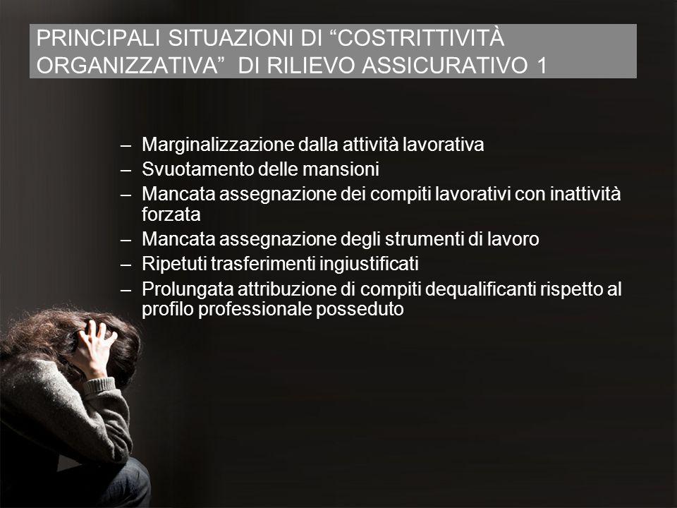 PRINCIPALI SITUAZIONI DI COSTRITTIVITÀ ORGANIZZATIVA DI RILIEVO ASSICURATIVO 1