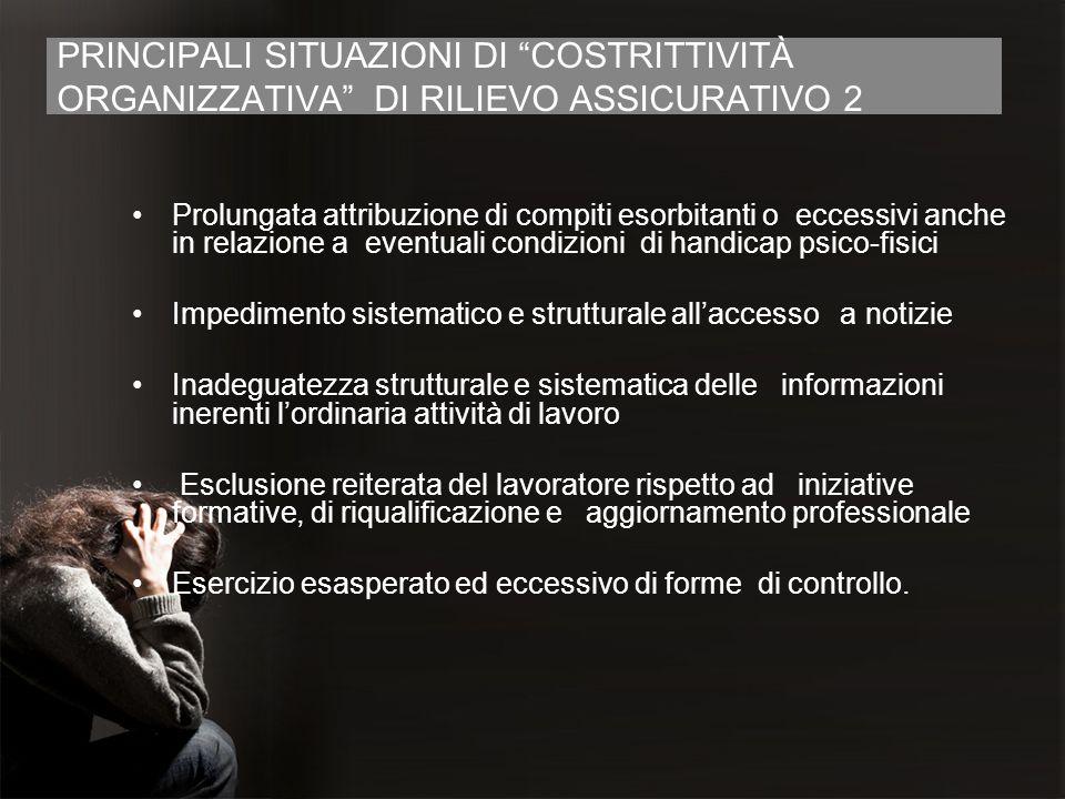 PRINCIPALI SITUAZIONI DI COSTRITTIVITÀ ORGANIZZATIVA DI RILIEVO ASSICURATIVO 2