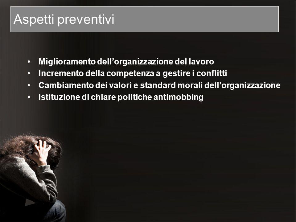 Aspetti preventivi Miglioramento dell'organizzazione del lavoro