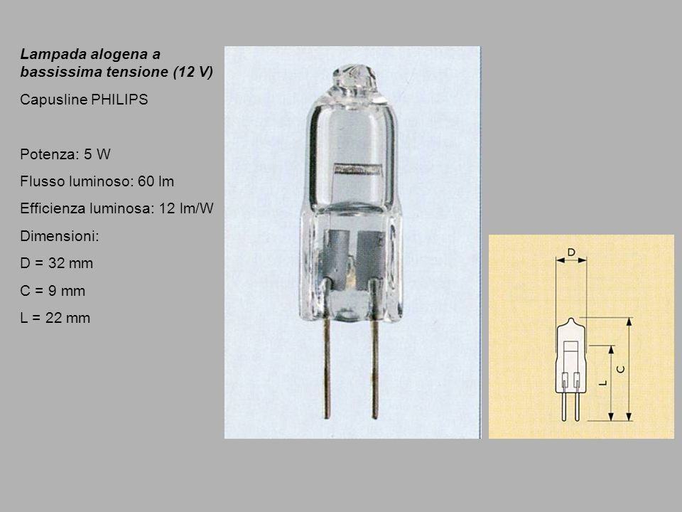 Lampada alogena a bassissima tensione (12 V)