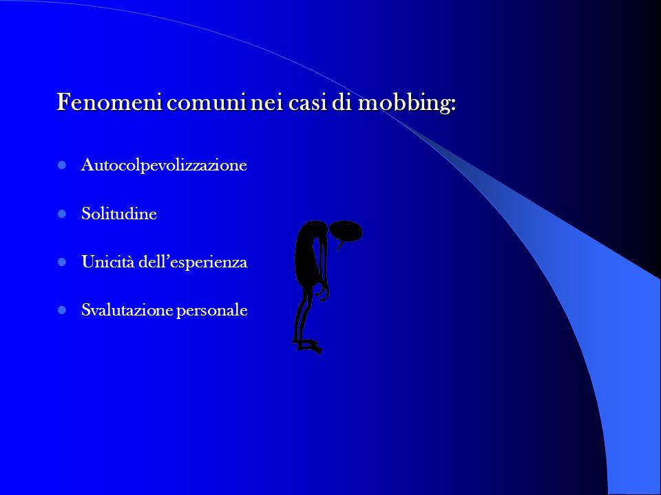 Fenomeni comuni nei casi di mobbing: