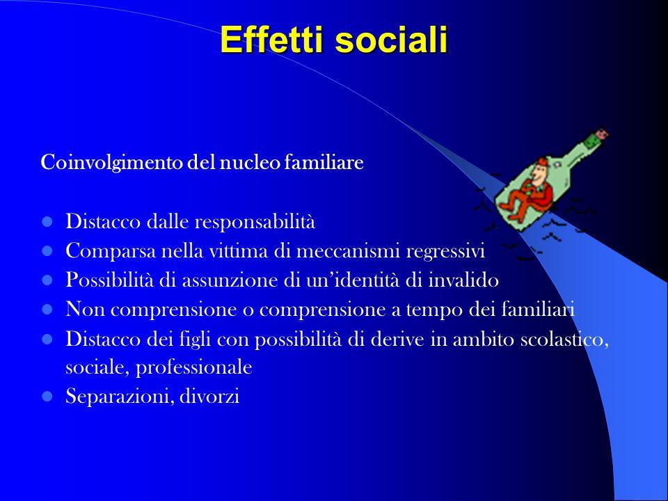 Effetti sociali Coinvolgimento del nucleo familiare