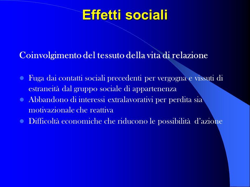 Effetti sociali Coinvolgimento del tessuto della vita di relazione