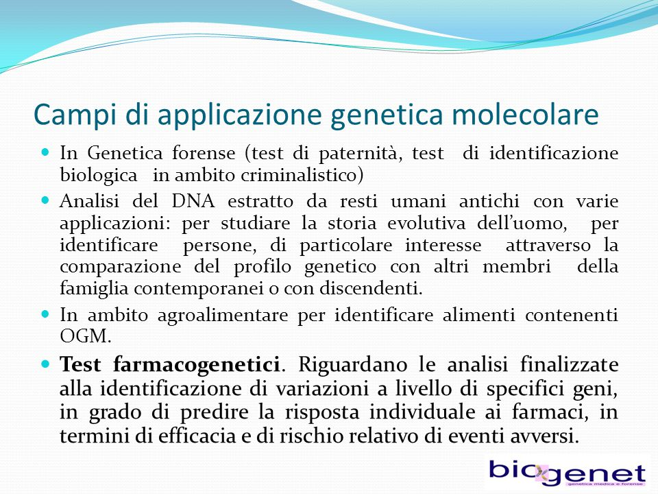 Campi di applicazione genetica molecolare