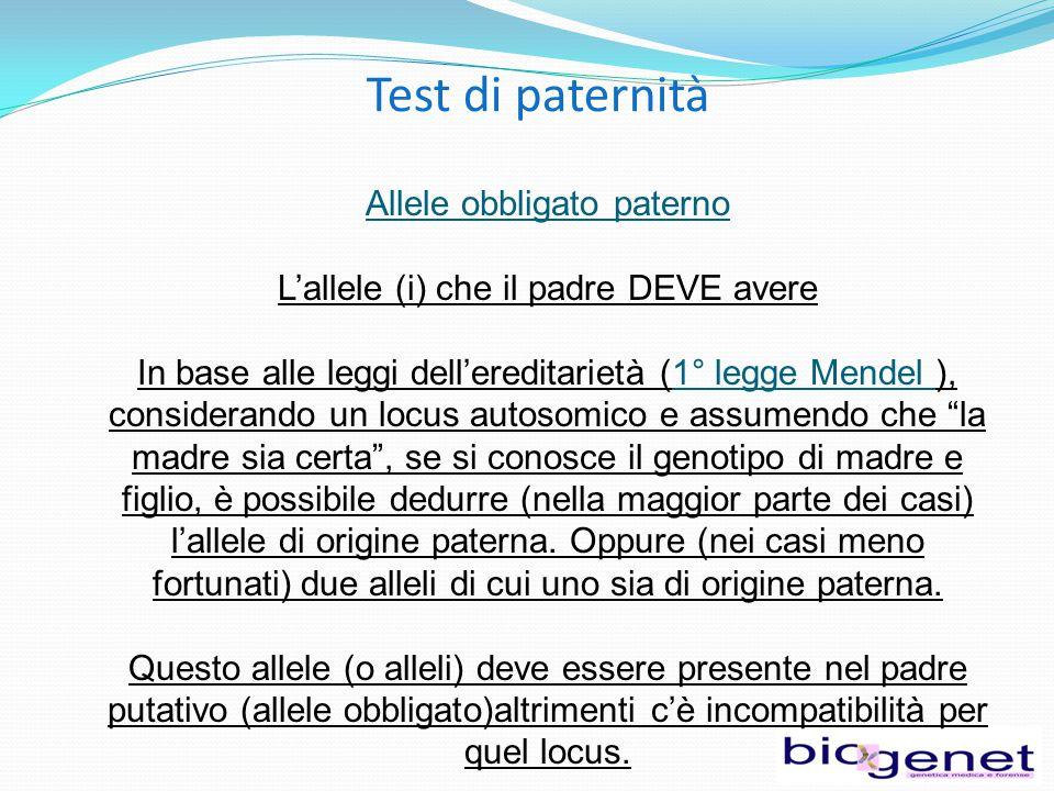 Test di paternità Allele obbligato paterno