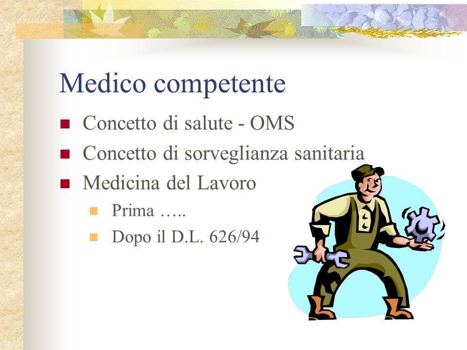 Medico competente Concetto di salute - OMS