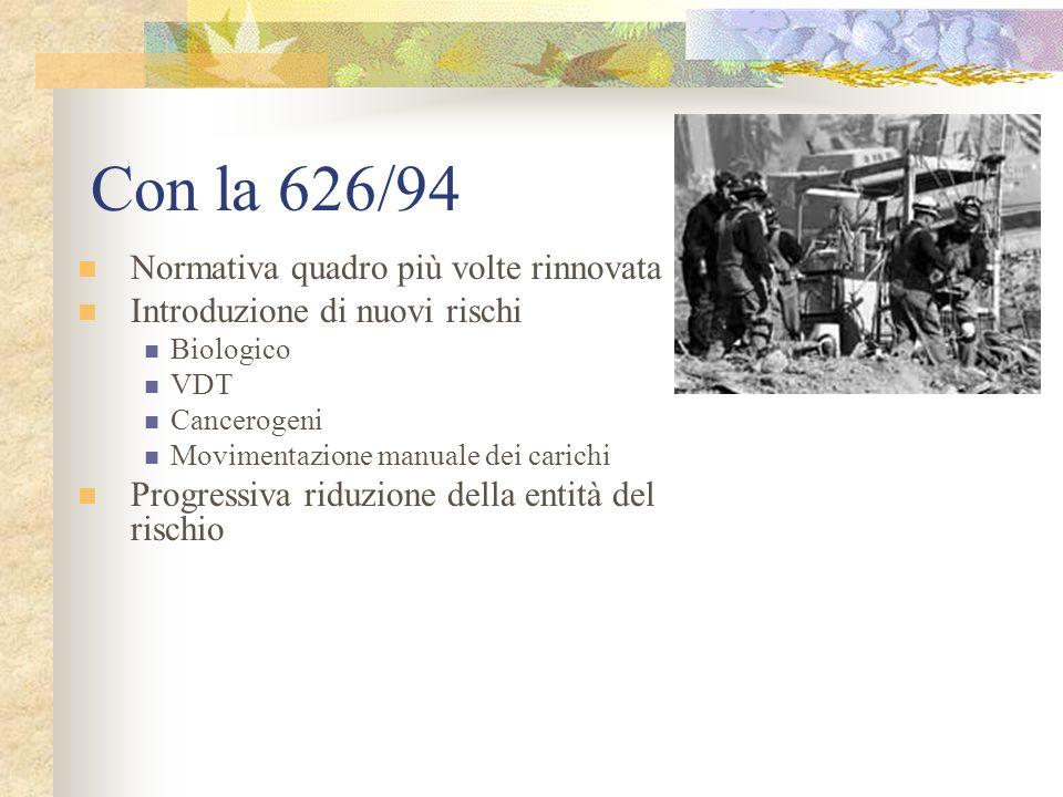 Con la 626/94 Normativa quadro più volte rinnovata