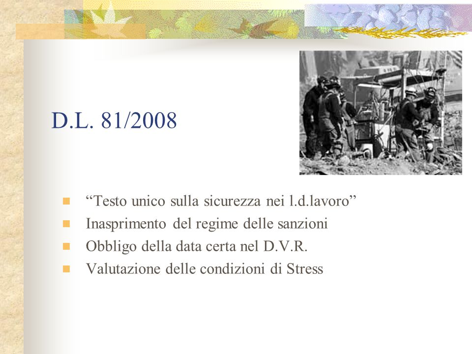 D.L. 81/2008 Testo unico sulla sicurezza nei l.d.lavoro