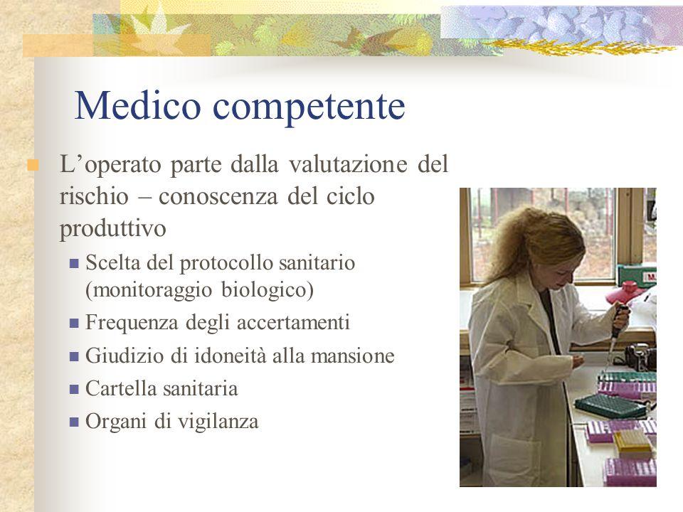 Medico competente L'operato parte dalla valutazione del rischio – conoscenza del ciclo produttivo.