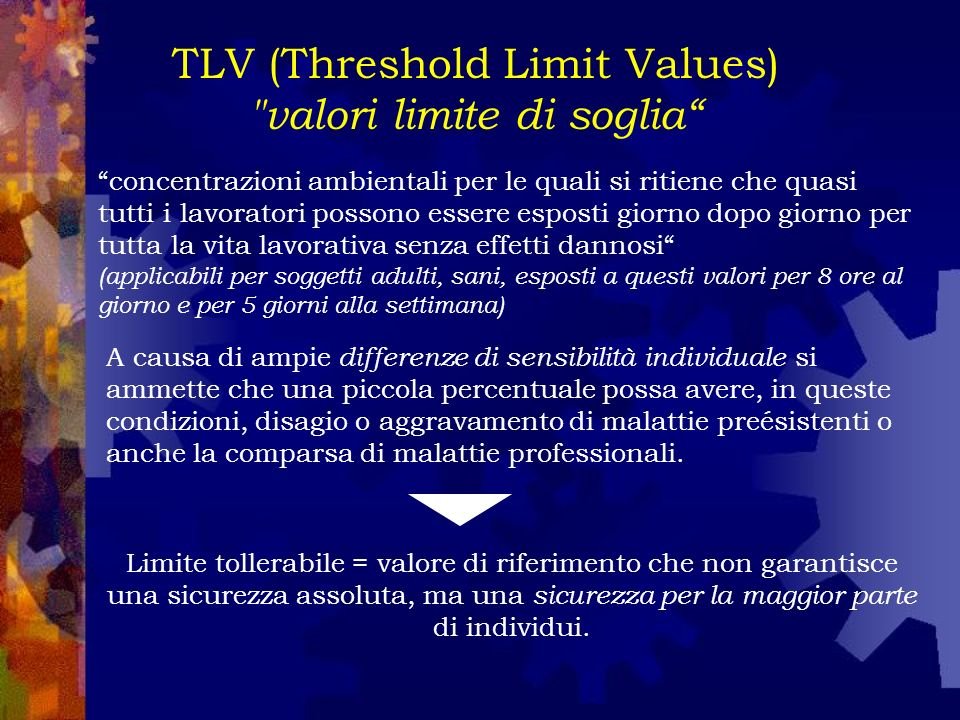 TLV (Threshold Limit Values) valori limite di soglia