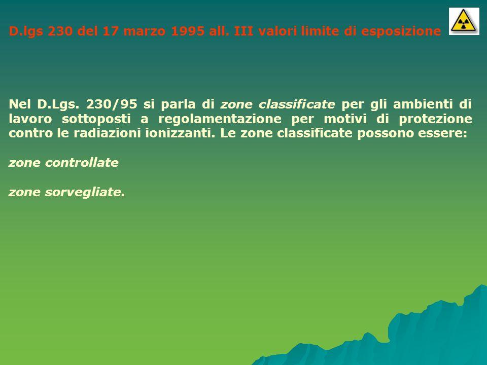 D.lgs 230 del 17 marzo 1995 all. III valori limite di esposizione