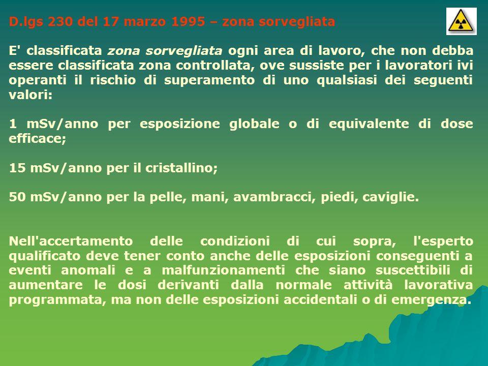 D.lgs 230 del 17 marzo 1995 – zona sorvegliata