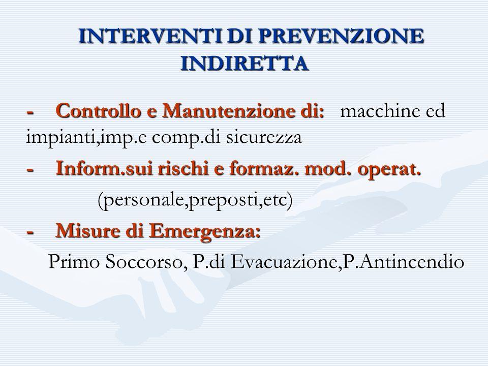 INTERVENTI DI PREVENZIONE INDIRETTA