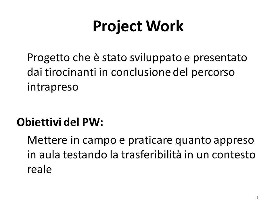 Project Work Progetto che è stato sviluppato e presentato dai tirocinanti in conclusione del percorso intrapreso.