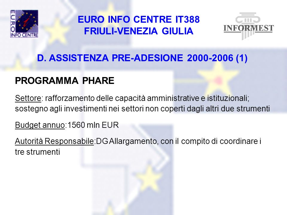 D. ASSISTENZA PRE-ADESIONE 2000-2006 (1)