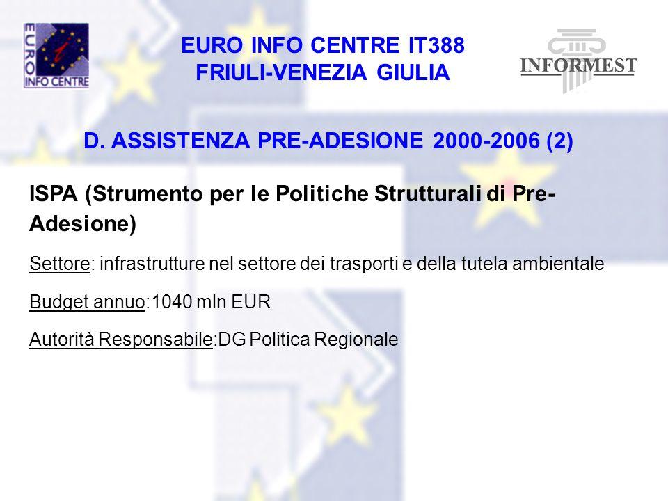 D. ASSISTENZA PRE-ADESIONE 2000-2006 (2)