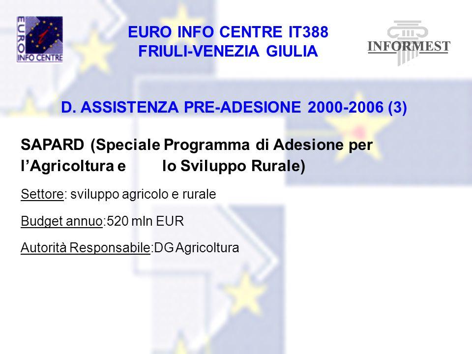 D. ASSISTENZA PRE-ADESIONE 2000-2006 (3)
