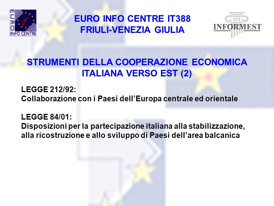 STRUMENTI DELLA COOPERAZIONE ECONOMICA ITALIANA VERSO EST (2)