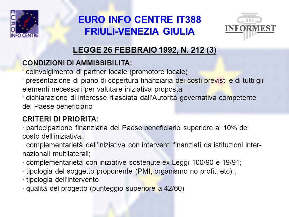 LEGGE 26 FEBBRAIO 1992, N. 212 (3) CONDIZIONI DI AMMISSIBILITA: