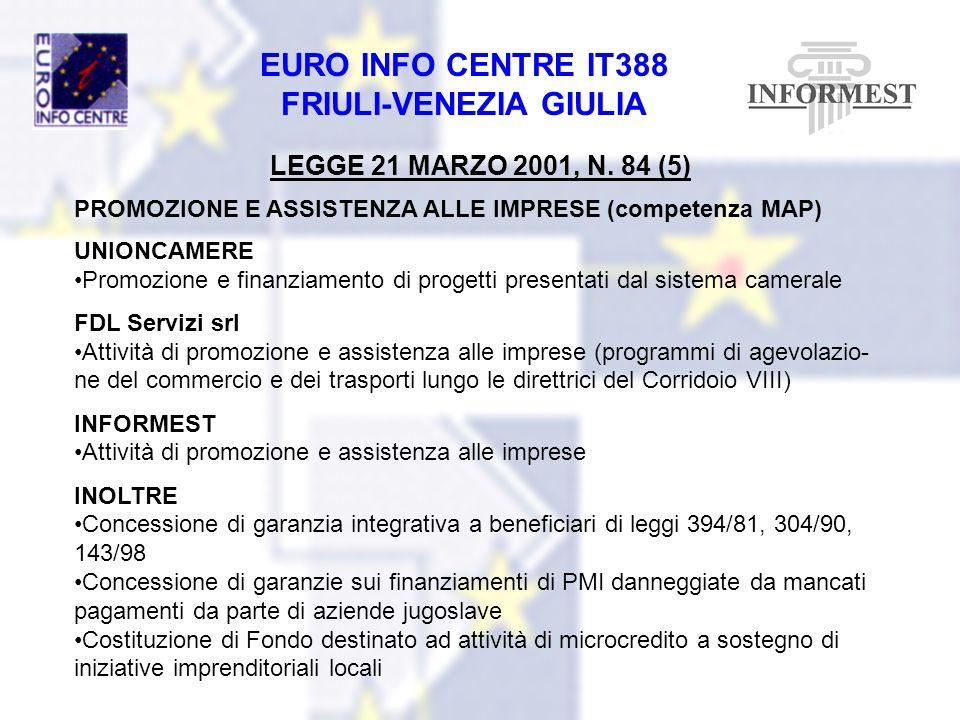 LEGGE 21 MARZO 2001, N. 84 (5) PROMOZIONE E ASSISTENZA ALLE IMPRESE (competenza MAP) UNIONCAMERE.