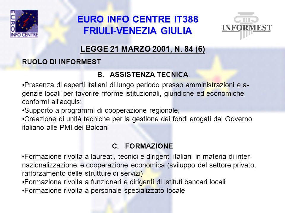LEGGE 21 MARZO 2001, N. 84 (6) RUOLO DI INFORMEST