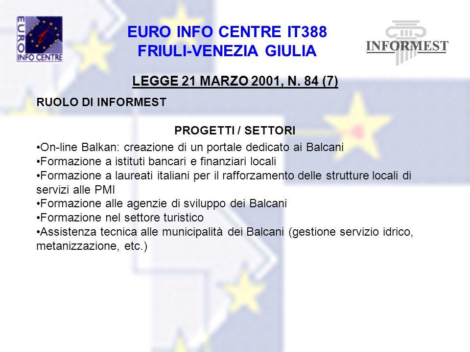 LEGGE 21 MARZO 2001, N. 84 (7) RUOLO DI INFORMEST PROGETTI / SETTORI