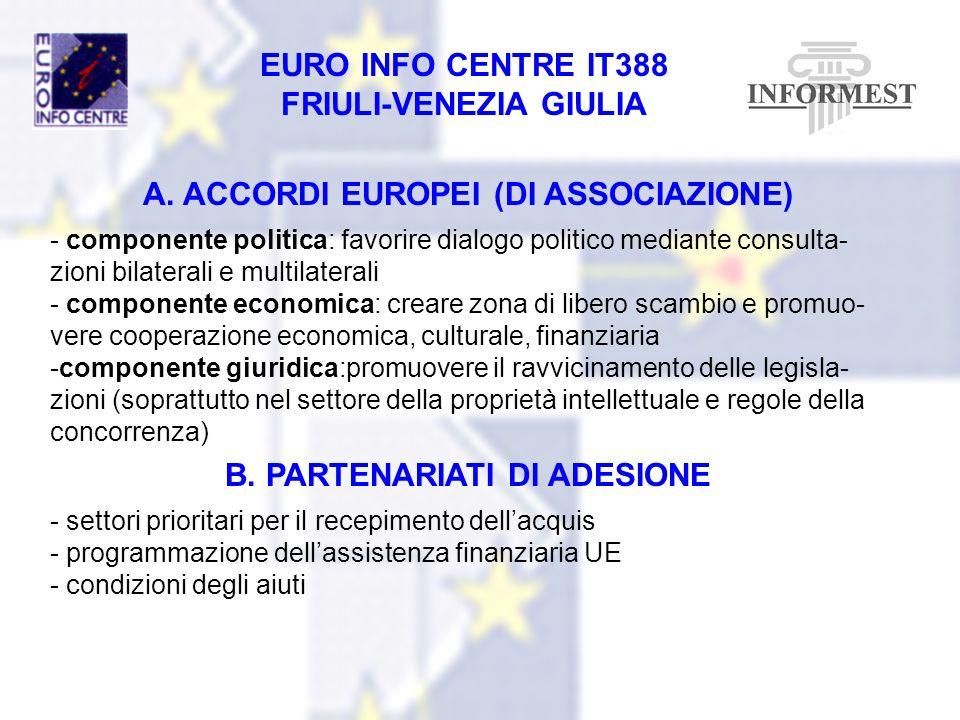 A. ACCORDI EUROPEI (DI ASSOCIAZIONE) B. PARTENARIATI DI ADESIONE