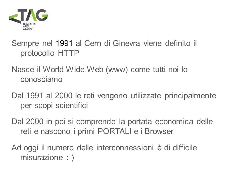 Sempre nel 1991 al Cern di Ginevra viene definito il protocollo HTTP