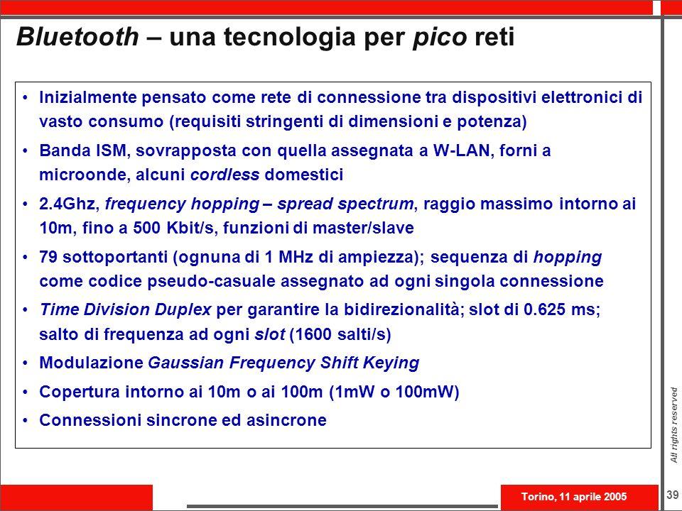 Bluetooth – una tecnologia per pico reti