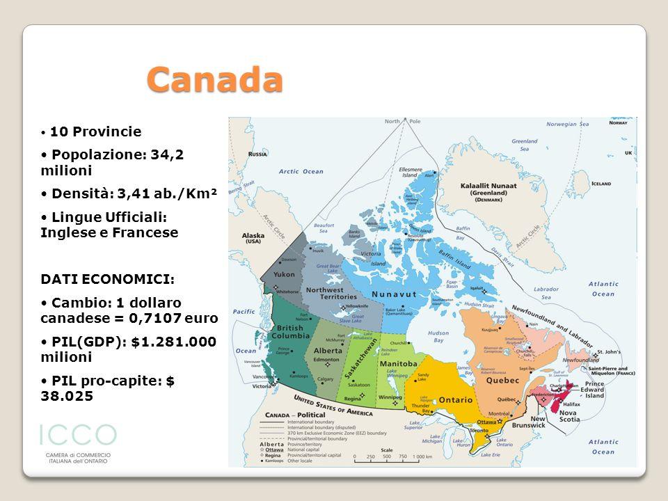 Canada Popolazione: 34,2 milioni Densità: 3,41 ab./Km²