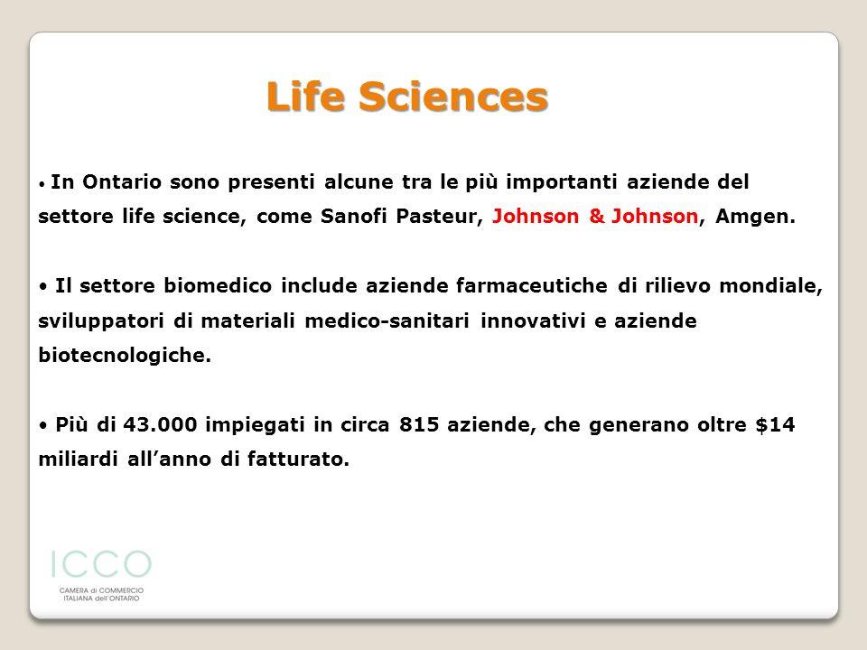 Life SciencesIn Ontario sono presenti alcune tra le più importanti aziende del settore life science, come Sanofi Pasteur, Johnson & Johnson, Amgen.