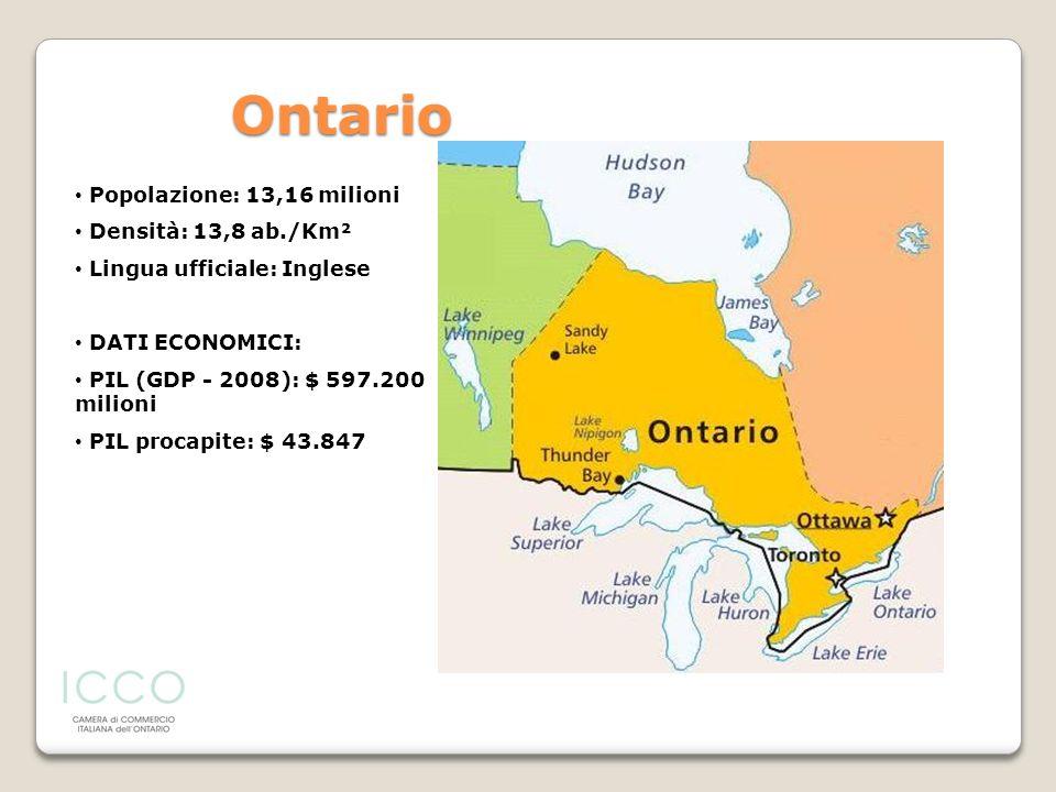 Ontario Popolazione: 13,16 milioni Densità: 13,8 ab./Km²