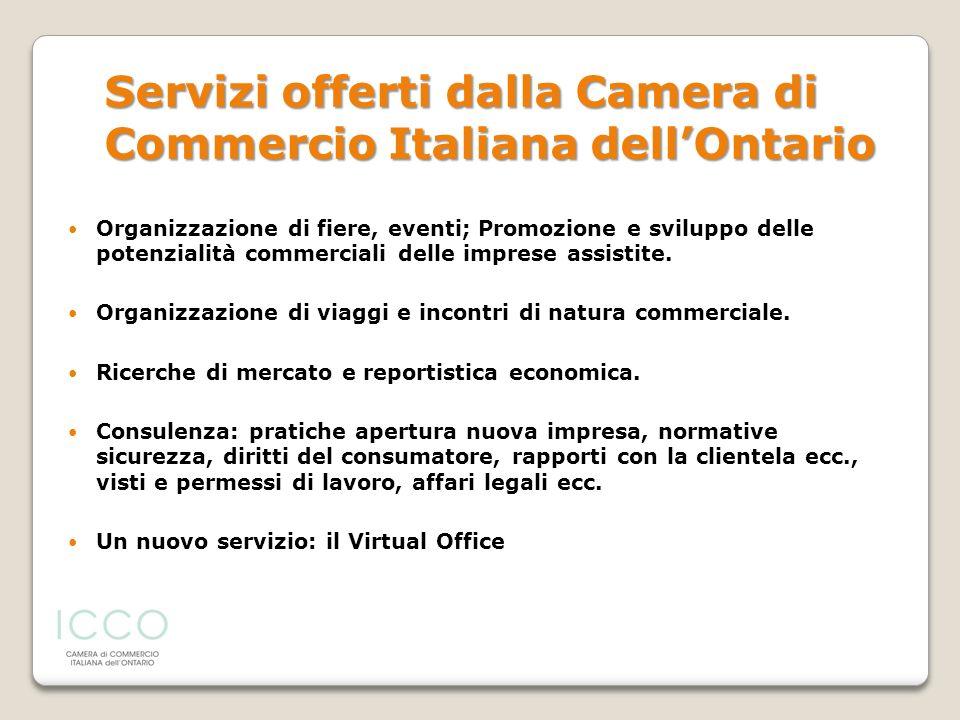 Servizi offerti dalla Camera di Commercio Italiana dell'Ontario