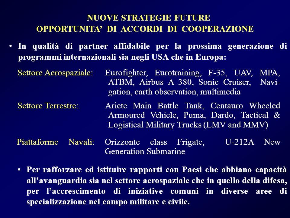 NUOVE STRATEGIE FUTURE OPPORTUNITA' DI ACCORDI DI COOPERAZIONE