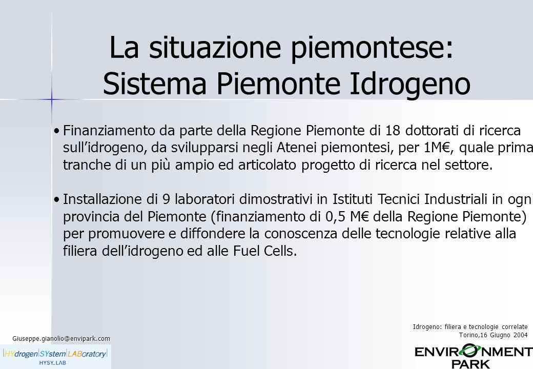 La situazione piemontese: Sistema Piemonte Idrogeno