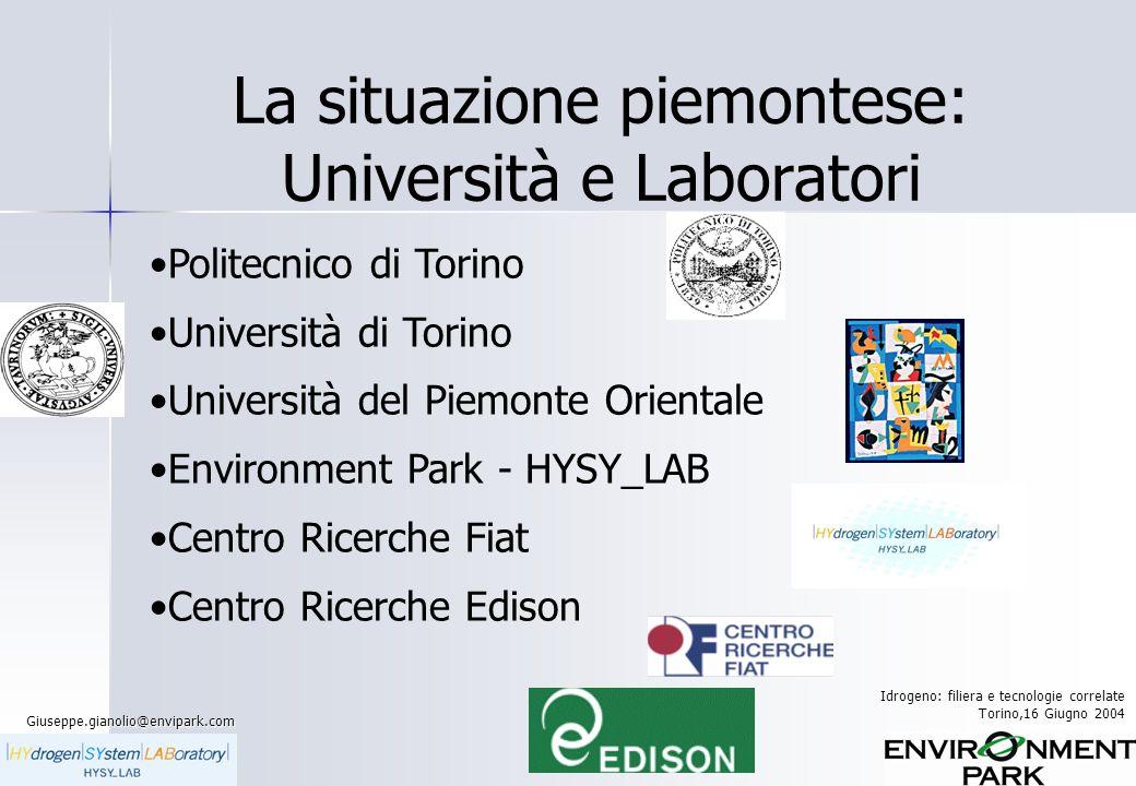 La situazione piemontese: Università e Laboratori