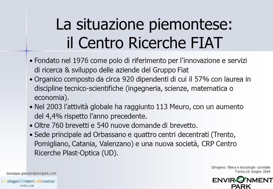 La situazione piemontese: il Centro Ricerche FIAT