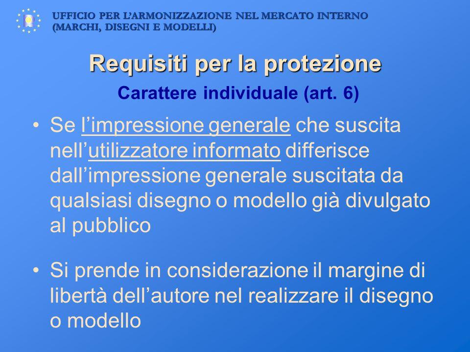 Requisiti per la protezione Carattere individuale (art. 6)