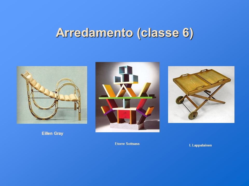 Arredamento (classe 6) Eillen Gray Etorre Sottsass I. Lappalainen